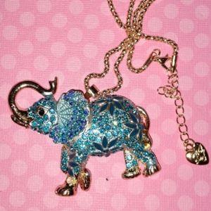 Betsey Johnson Crystal Blue Elephant Necklace